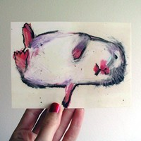 POSTCARD - Hamster In A Coma, small fine art print of a drawing of a pink and white hamster  by Rina Miriam Drescher