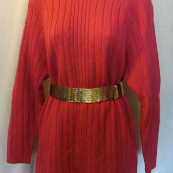 Vintage 80s PINK ANN TAYLOR Ribbed Long Wool Womens Sweater Jumper