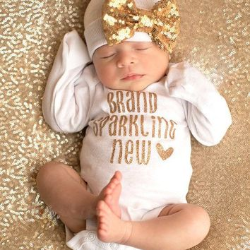 2017 baby Girls clothing sets Sequin Infant Newborn Baby Girls Romper+Hat Jumpsuit Clothes Outfit Set
