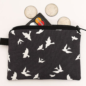 Little coin purse, small zipper pouch, padded change purse, zip card case, small phone case with zipper- white birds flying in charcoal grey