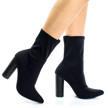 Elssa1 Black By X2B, Pointed Toe Ankle booties W Stretchy Upper & Rounded Block Heel