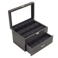 Carbon Fiber Pattern Watch Case Display with Glass Clear Top Storage Box Chest that Holds 20 Watches with Removable Pillows and High Clearance for Large Watches