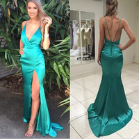 Spaghetti Straps Prom Dresses ,Satin Prom Dress,Long Evening Dress