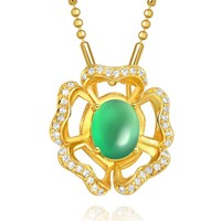 Fancy Magical Lotus Flower Good Luck Amulet Gold-Tone Green Simulated Jade Crystals Necklace