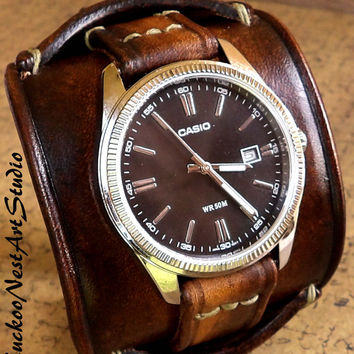 Leather Cuff, Watch Cuff, Men's Leather Watch, Vintage style Wrist Watch,  Bracelet watch, Leather Strap, C4