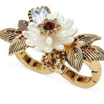 Betsey Johnson Ring, Antique Gold-Tone Imitation Pearl Flower Two-Finger Ring - Fashion Rings - Jewelry & Watches - Macy's
