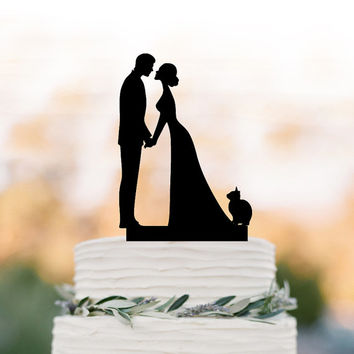 Wedding Cake topper with Cat, family Cake Topper with bride and groom silhouette, funny wedding cake topper, anniversary cake topper