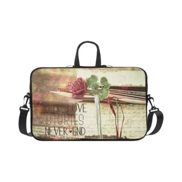 Personalized Laptop Shoulder Bag True Love Stories Never End With Vintage Red Rose Macbook Pro 17 Inch
