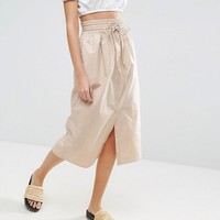 ASOS Midi Skirt Button Through at asos.com