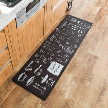 Cartoon PVC Gourment Kitchen Floor Mat Non-Slip Doormat Rug Cute Front Door Mat Home Decorative Bathroom Carpet 45*75cm 45*150cm