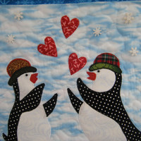 Penguins and Hearts - Quilted Wall Hanging - HANDMADE BY ME