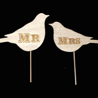 Personalized Wooden Love Birds Wedding Cake Topper, Engraved Mr. and Mrs., Bride and Groom Country Rustic Topper