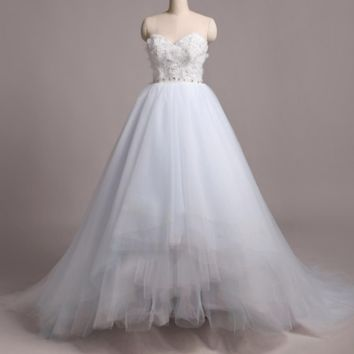 Light Blue Wedding Dresses Strapless Colored Tulle Layer Ball Gown