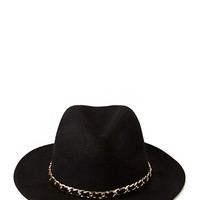 FOREVER 21 Chained Wide-Brim Fedora Black/Gold Med/Lg
