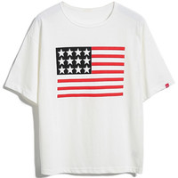 White American Flag Patch T-shirt