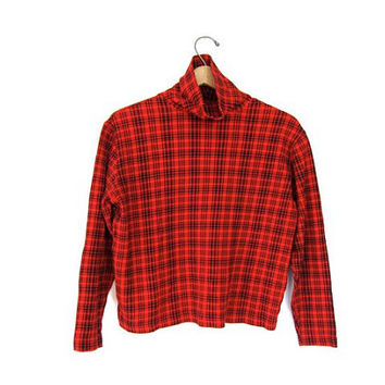Plaid cropped shirt 90s mock neck TARTAN black red cotton top long sleeve Prep School Girl boxy shirt Mod Holiday blouse Womens Small