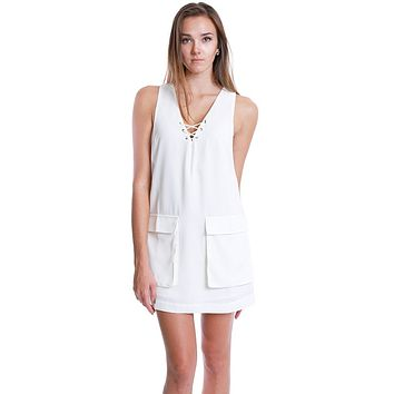 Lacing Reaction Lace Up Shift Dress - White