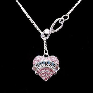 Stethoscope Pink Crystal Nurse Graduation Gift RN LPN Nurses Lariat Necklace