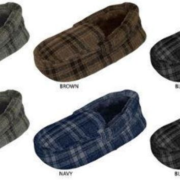 Zac & Evan Boy's Plaid Moccasin Slippers with Faux Fur Lining - CASE OF 72