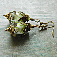 Green White Lampwork Flower Earrings, Brass and Glass Flower earrings, Bohemian lampwork earrings, Boho glass dangles, Woodland earrings,