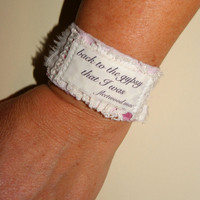 Song Lyrics Jewelry Gypsy Jewelry Inspirational Bracelet Fabric Bracelet Cuff Recycled Jewelry Hippie Boho Stevie Nicks
