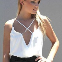 White Sleeveless Lattice Bodysuit