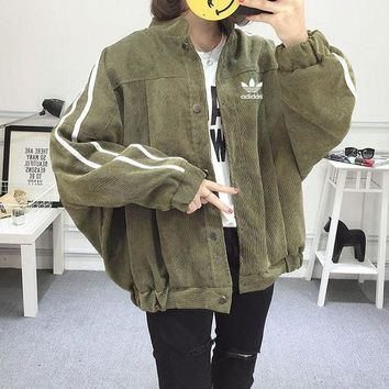 ONETOW Adidas' Unisex Casual Fashion Stripe Loose Buttons Cardigan Long Sleeve Corduroy Baseball Clothes Retro Couple Coat
