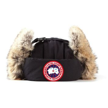 Canada Goose coyote fur trim aviator hat