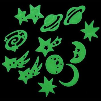 Moon Star Glow In The Dark Star Stickers Noctilucent Christmas snowflake Wall Stickers Ceiling Room Decal Baby Kids Gift