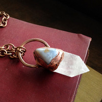 Blue Lace Agate & Quartz Necklace