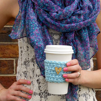 Coffee Cup Cozy / Sky Blue With Wooden Heart Button