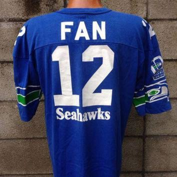 CUPUPS Seattle Seahawks Shirt Vintage Jersey 12th Man Fan 12 1980s NFL Tee Large