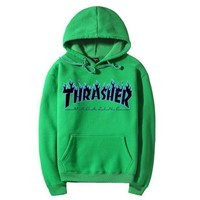 Thrasher street fashion men's and women's autumn and winter hooded long-sleeved sweater
