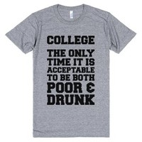 College: Poor & Drunk-Unisex Athletic Grey T-Shirt