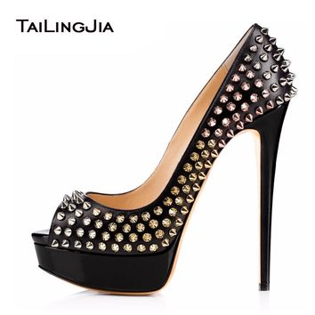 Women High Heel Pumps 2017 Studs Platform Heels Rivets Shoes Sexy Black Sky-High Heels Ladies Peep Toe Stilettos Plus Size