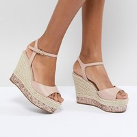 Faith Liddy Pink Glitter Espadrille Wedges at asos.com