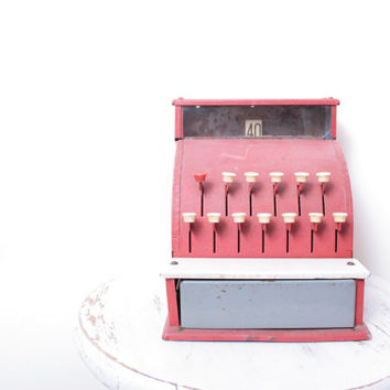 Vintage Children's Tom Thumb Miniature Fire Engine Red Cash Register for a Playroom or Soda Shop