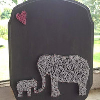 Mommy and Baby Elephant Custom String Art on Wooden Plaque, nursery decor, kids room, elephant theme, baby shower gift
