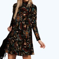 Paula Paisley Floral High Neck Swing Dress