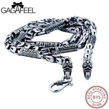 GAGAFEEL Long Dragonscale Necklace Vintage 925 Sterling-Silver-Jewelry Dragon Head Animal Chains S Clasp Solid Fit Men Pendant
