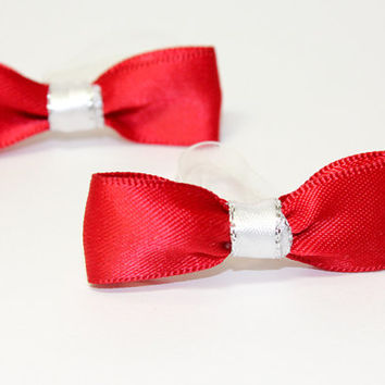 Red Satin Dog Bow. Dark Red with White and Silver Ribbon. Small Dog Bow for Top Knot or Puppy Ears. Red Satin Ribbon for Puppy Dress Up
