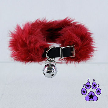 Pawstar FURRY KITTY BELL Collar  Real Leather Fake Fur You Pick Color Choker Black White Maroon Dark Red Pet Cat Girl Gothic Lolita 5010