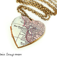 San Francisco Large Vintage Heart Map Locket Necklace - Antique Map, Bay Area, Gift for Her