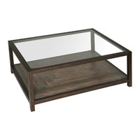 Carter Bronze & Glass Contemporary Rectangular Coffee Table by Uttermost
