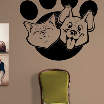 Cat and Dog Paw Print Design Animal Decal Sticker Wall Vinyl Decor Art