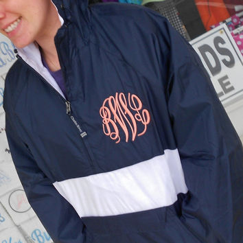 Monogrammed Windbreaker Striped Pullover Font by MONOGRAMSINC