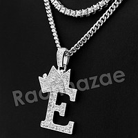 Iced Out King Crown E Initial Pendant Necklace Set (Silver).