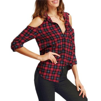 Summer Autumn Long Sleeve Casual Plaid Shirt Women Open Shoulder Blouses Womans Shirts Tops Lapel flannel Red Blouse 2016