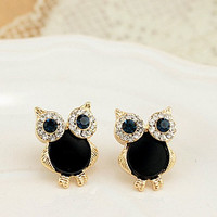 1PAIR Bling owls FASHION KIDS jewelry Colorful Rhinestone Alloy Ear Stud Earring, Eco-friendly Plating Real Gold
