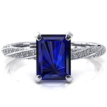 Elysia Emerald Blue Sapphire 4 Prong 3/4 Eternity Diamond Accent Ring